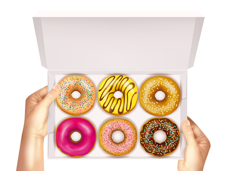 Realistic colorful donuts with sprinkles, glaze and sesame seeds in open white box in hands vector illustration