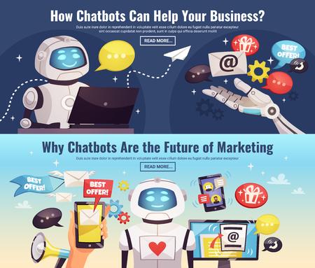 미래의 만화 벡터 일러스트 레이 션 인공 지능의 응용 프로그램 영역에 대 한 정보와 함께 Chatbot 가로 배너 일러스트