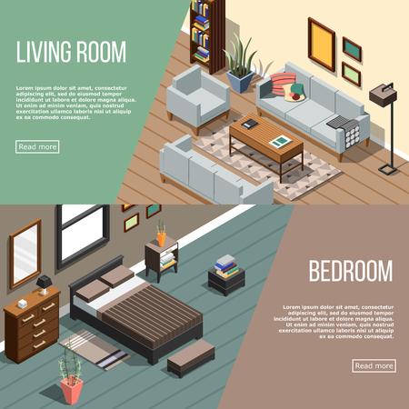 家具画像編集可能なテキストと 2 つの等尺性のインテリア水平方向のバナーの設定し、複数のボタンのベクトル図を読む