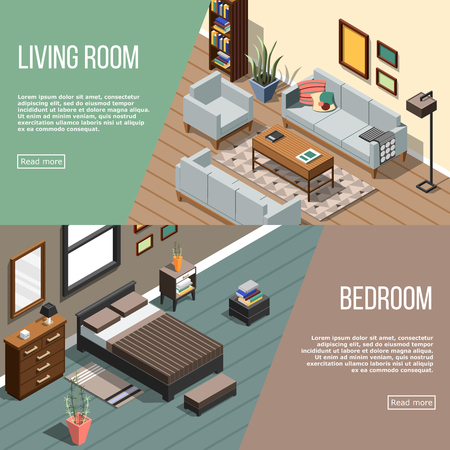 Set of two isometric interior horizontal banners with furniture images editable text and read more button vector illustration