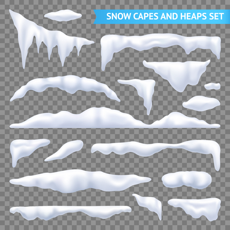Snow white capes and piles transparent realistic set isolated vector illustration
