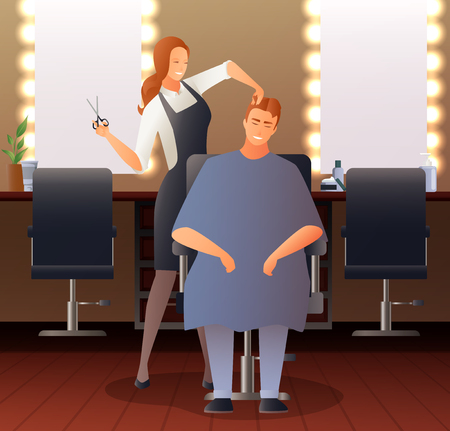 Hairdresser stylist barber gradient flat people composition with hairdressing salon interior seats mirrors and human characters vector illustration Illustration