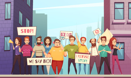 Protesting crowd of peaceful urban residents walking on streets of city with placards cartoon vector illustration