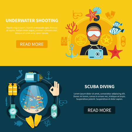 Horizontal banners with underwater shooting on yellow background and scuba diving with marine wildlife isolated vector illustration
