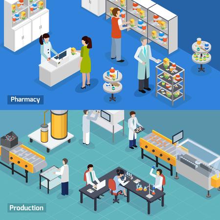 Farmaceutyczna produkcja 2 isometric horyzontalnych sztandarów z medycznymi badaniami badają produkcję i apteka usługa odizolowywającą wektorową ilustrację