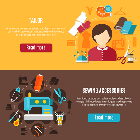 Sewing and tailor horizontal banners set with cloth needle and thread flat isolated vector illustration Illustration