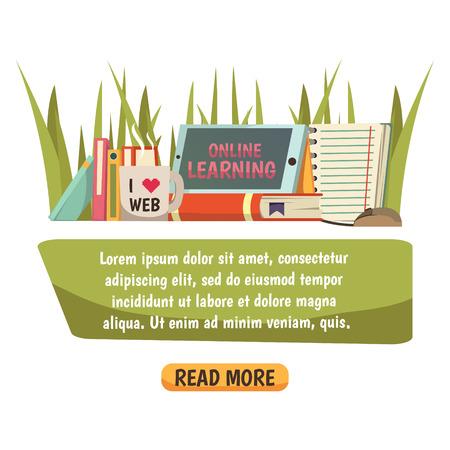 텍스트 배너 및 온라인 학습 광고 평면 벡터 일러스트 레이 션에 사용되는 장식 아이콘의 컬렉션과 온라인 교육 직교 조성 일러스트