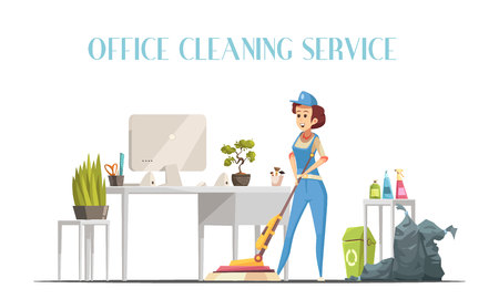 Office cleaning service design concept with young woman in interior washing floor by modern mop with spray element flat vector illustration Çizim