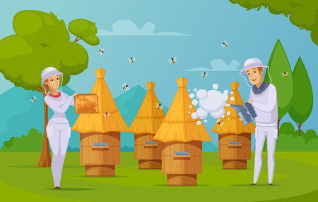Bee farm apiary honey harvesting cartoon composition poster with beekeepers using smoker and holding honeycombs vector illustration Illustration