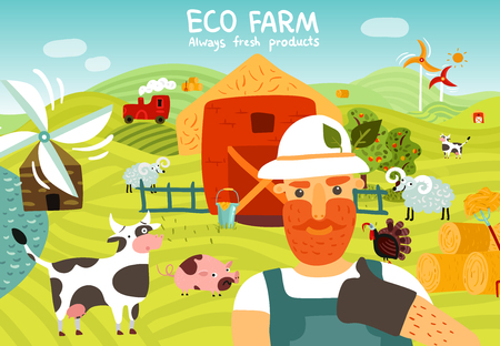 Eco farm composition with worker, barn, windmills, garden, domestic animals on green fields Illustration