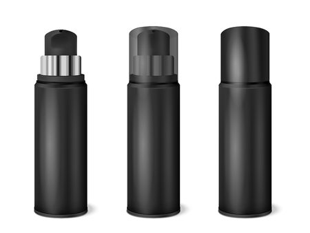 Black aluminium spray cans set with transparent and dark opaque cap on and removed realistic vector illustration Illustration