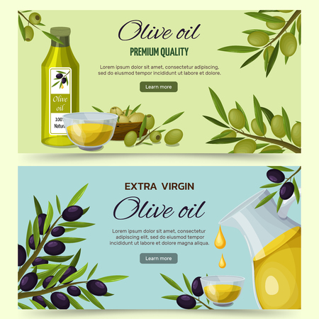 Extra virgin olive oil benefits and uses 2 informative  horizontal cartoon banners webpage design isolated vector illustration