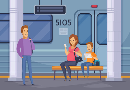 Underground subway passengers waiting train on platform cartoon composition with smiling pregnant woman holding smartphone vector illustration Ilustracja