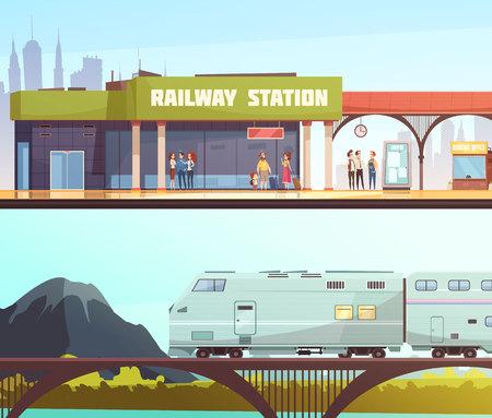 Insegne orizzontali del ponte ferroviario e della stazione ferroviaria con la gente che aspetta trasporto e treno che passa l'illustrazione piana di vettore del fondo della montagna