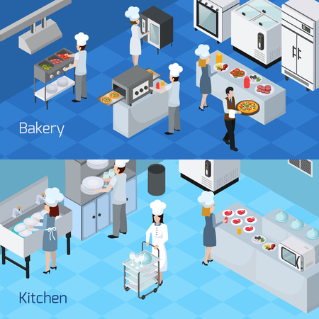 Bakery kitchen interior furniture equipment appliances  2 horizontal isometric banners with cooking staff members isolated vector illustration 일러스트