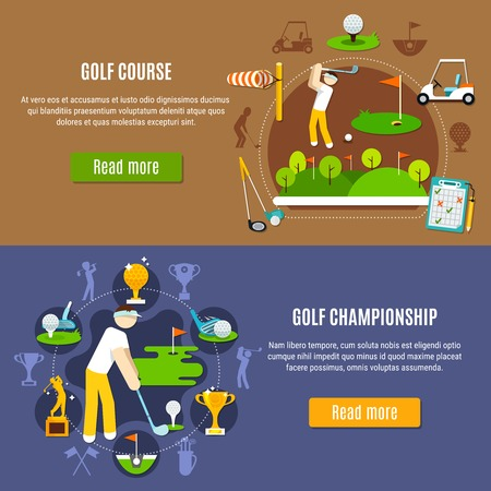 Horizontal flat banners with golf championship and green course on blue and brown background isolated vector illustration