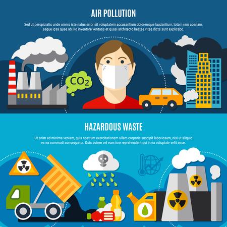 De horizontale die banners van het verontreinigingsprobleem met luchtvervuiling worden geplaatst en de vlakten geïsoleerde vectorillustratie van afvalsymbolen Stock Illustratie