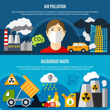 Pollution problem horizontal banners set with air pollution and waste symbols flat isolated vector illustration