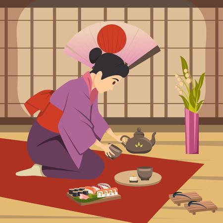 Het Japanse traditionele ritueel van de theeceremonie dat door vrouw op van de achtergrond vloermat nationale symbolen affiche vectorillustratie wordt uitgevoerd Stock Illustratie