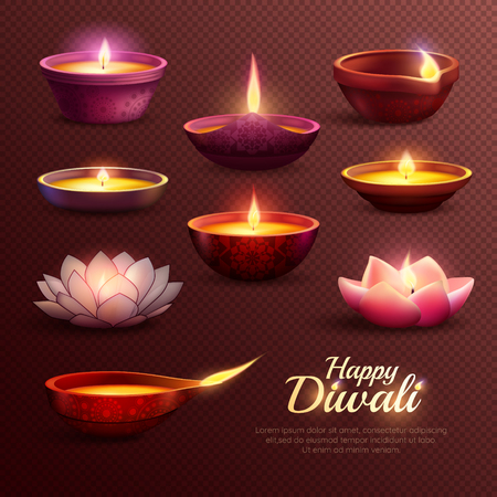 Diwali celebration icons set with burning oil lamps of various shape on transparent background isolated vector illustration Illustration