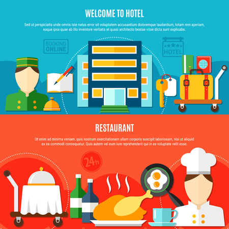Two hotel banners with invitation to visit hotel and elements of restaurant service flat vector illustration