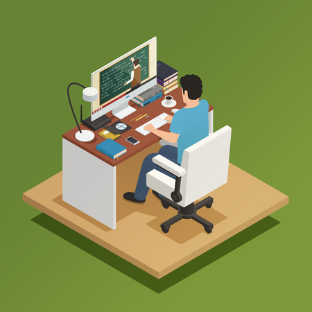 Elearning isometric composition with young man sitting home at computer and receiving distance learning vector illustration