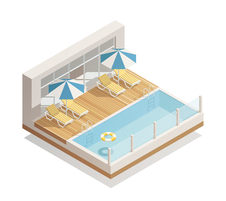 Outdoor swimming pool in recreation facility with parasol umbrellas beach lounge chairs and lifebuoy isometric composition vector illustration Çizim