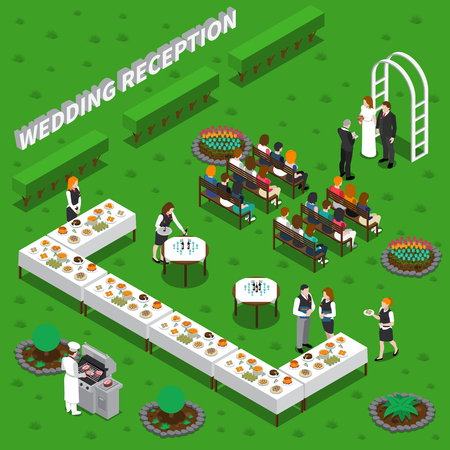 Wedding reception catering services isometric composition with ceremony, chef, waiters, table setting on green background vector illustration