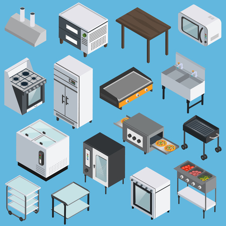Professional kitchen furniture equipment appliances  with microwave grill refrigerator range stove isometric icons collection isolated vector illustration Illustration