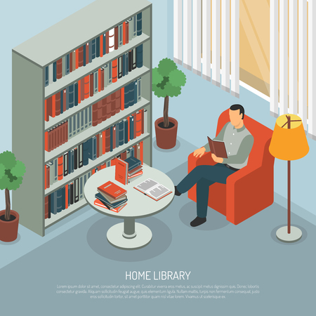 Isometric book reading composition with domestic interior big book cabinet and himan character in chair with text vector illustration Illustration