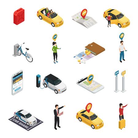 Carsharing carpooling współdzielenie izometrycznych ikon z osobami korzystającymi z indywidualnej i zbiorowej rezerwacji samochodów za pośrednictwem aplikacji internetowej izolowanej ilustracji wektorowych
