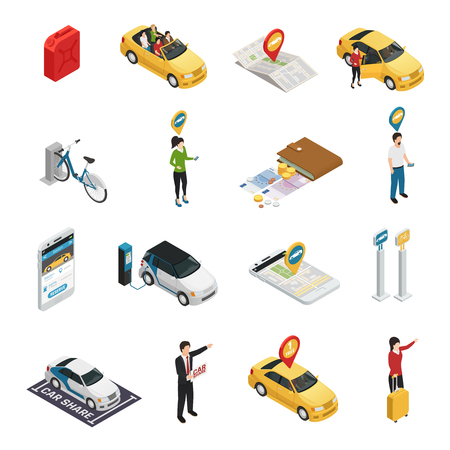 Het carharing carpooling die isometrische pictogrammen ridesharing met mensen die individuele en collectieve reserve van auto's via Webtoepassing geïsoleerde vectorillustratie gebruiken