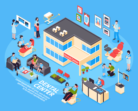 Dental center isometric design concept with set of kids parents clinic staff and medical equipment icons on blue background vector illustration Ilustracja