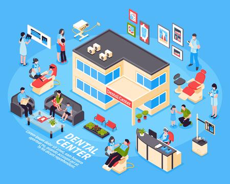 Dental Center isometrische Design-Konzept mit Satz von Kindern Eltern Symbole und medizinische Geräte Symbole auf blauem Hintergrund Vektor-Illustration Standard-Bild - 88167102