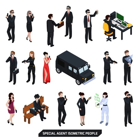 Speciale agentreeks isometrische mensen met sexy vrouwen, mannen in zwarte met pistool geïsoleerde vectorillustratie