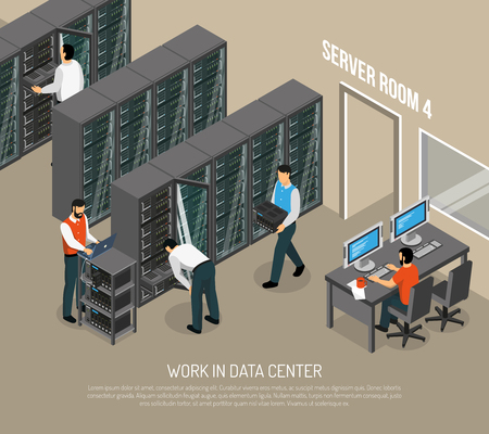 Work in data center isometric vector illustration with programmer at working place and engineers configuring equipment