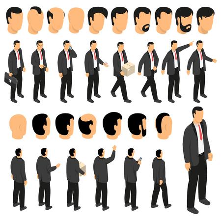 Création de personnage d'homme d'affaires sertie de figurines de l'homme en costume et cravate et vue de face arrière de la coiffure masculine isolé illustration vectorielle Banque d'images - 88167104