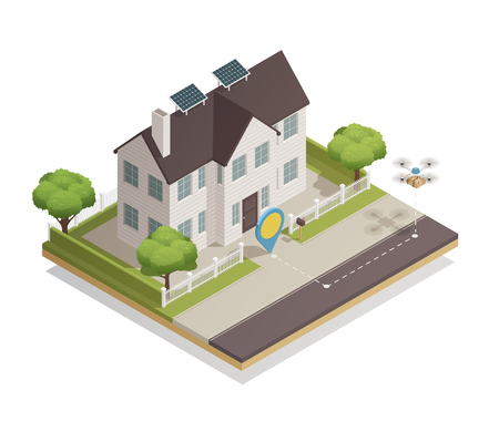 Smart city technology isometric composition with townhouse sun battery panels and drone parcel delivery moment vector illustration