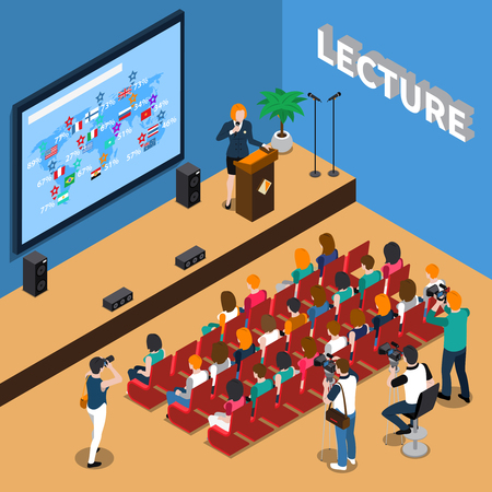 Lecture isometric composition with orator near tribune, people in auditorium, screen and loudspeakers, photo reporters vector illustration Banco de Imagens - 88167107