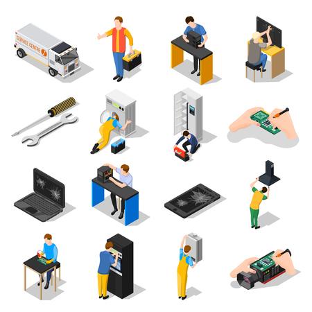 サービスセンターアイソメアイコンは、ガジェットの家庭、機器のツールとインストールに従事しているスタッフと設定し、装置孤立ベクトルイラ