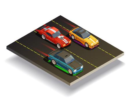 Straat het rennen afwijking isometrische samenstelling van drie snelle raceauto's met verschillende overdrukplaatjes op de vectorillustratie van de rascursus