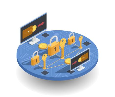 Inwestycje w kryptowaluty i izometryczna koncepcja zarobków z portfelem na ekranach, bezpieczeństwo transakcji na ilustracji wektorowych okrągłej platformy