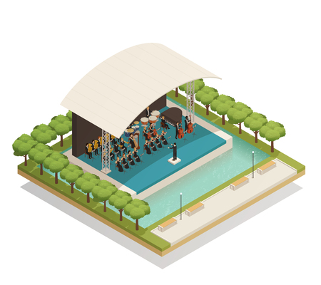 Isometric composition with big orchestra of men and women playing musical instruments on stage outdoors.