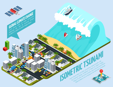Global warming isometric composition with tsunami, city on seashore, satellite, world map on blue background vector illustration
