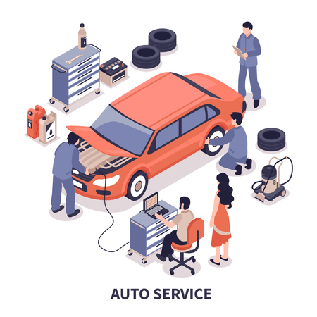 Auto service center workers fixing car and changing tyres on white background isometric vector illustration