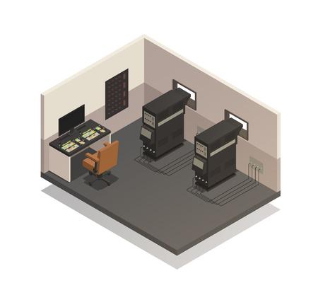Leerer Kinoraum für isometrische Zusammensetzung des Projektionisten mit soliden Bedienfeld- und Projektorvektorillustration Standard-Bild - 88167344