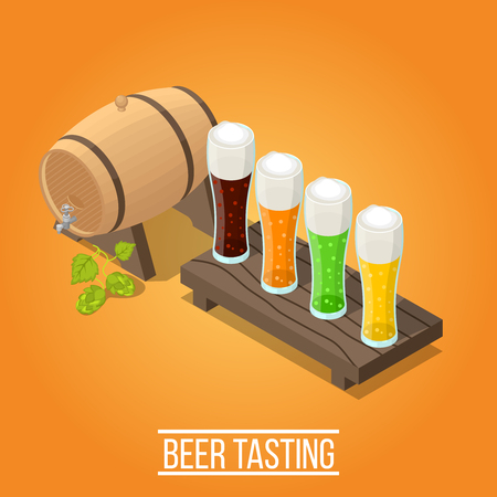 Isometric bright orange brewery background with wooden barrel and glasses full of fresh colorful beer vector illustration Illustration