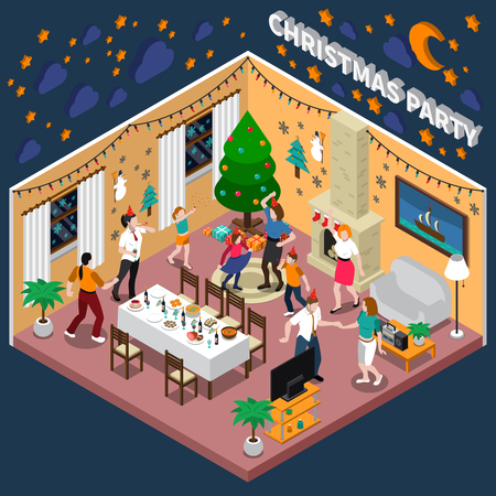 Christmas party isometric composition with dancing people, year tree, holiday decorations on wall, interior objects vector illustration Illustration