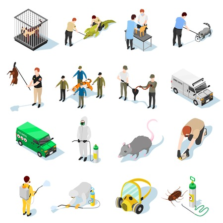 Pest control isometric icons set of animals insects and people used in catching and destruction of parasites vector illustration Illustration