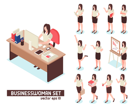 Businesswomen isometric set of female characters in office space isolated on white background vector illustration Illustration